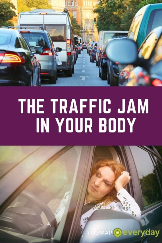 Two photos - one of a traffic jam, the other of a frustrated woman trapped in a traffic jam.