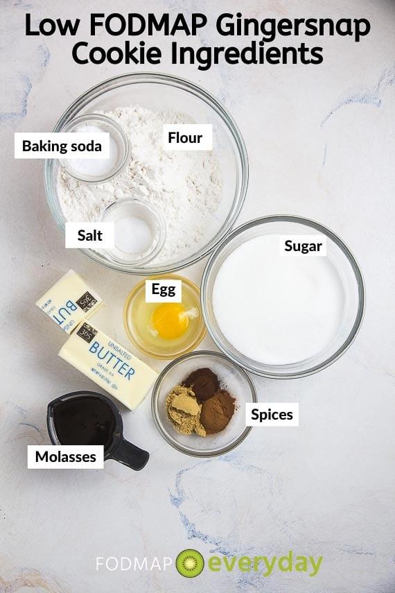 Ingredients for Low FODMAP Gingersnaps
