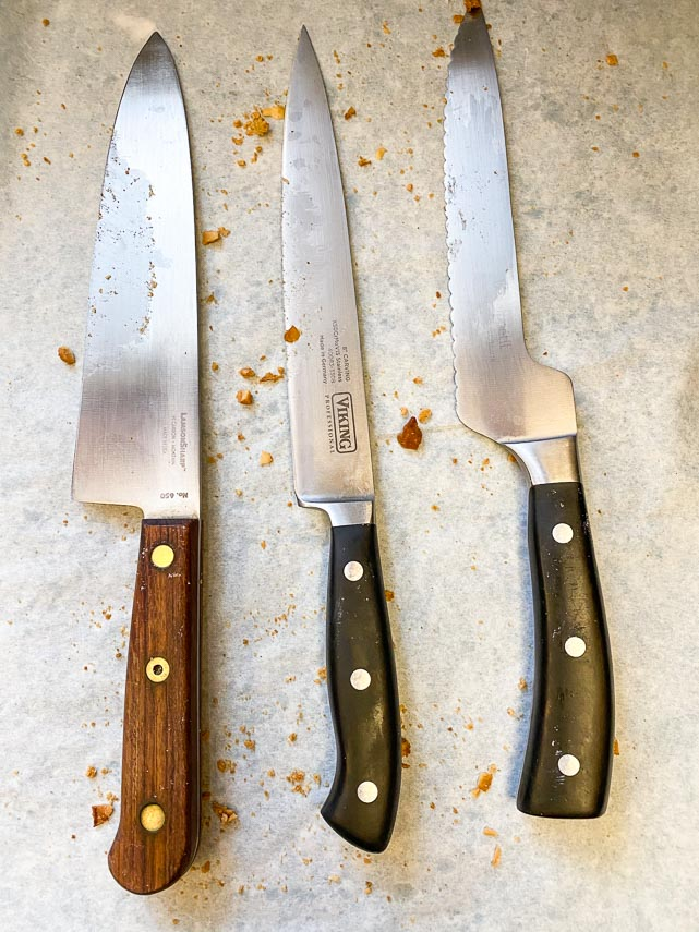 the chef's knife on the left cut our tropical biscotti best