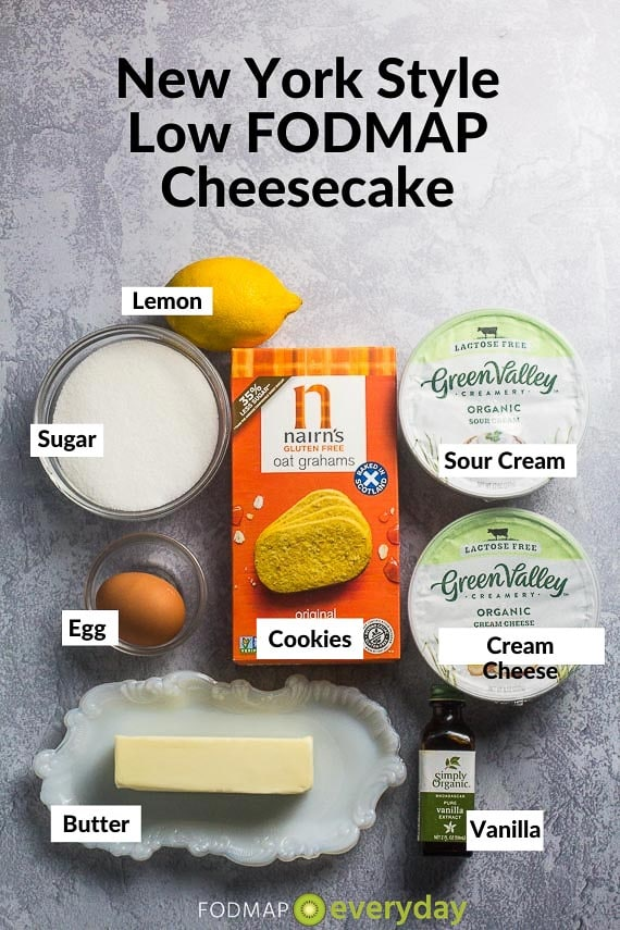 Ingredients for NY Style Loe FODMAP Cheesecake on grey background