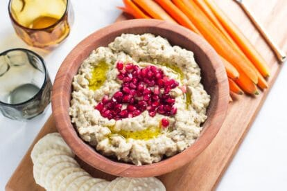 Low FODMAP eggplant dip in wooden bowl garnished with pomegranate seeds-2