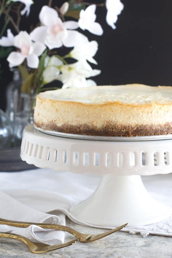 NY style cheesecake on white pedestal against dark background; gold forks in forground