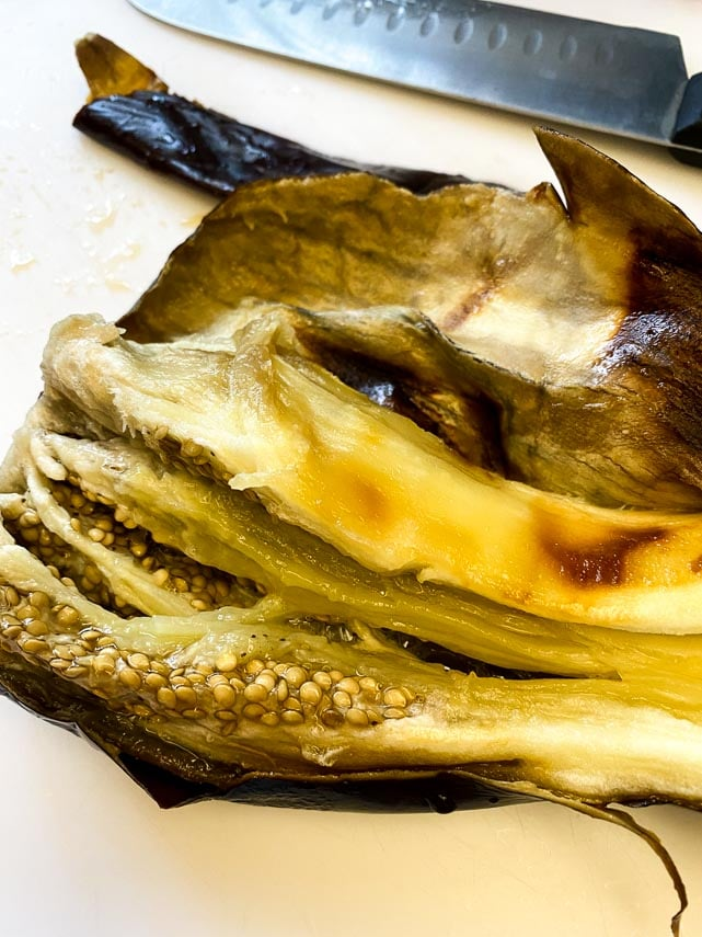 Roasted eggplant for low FODMAP eggplant dip, cut open