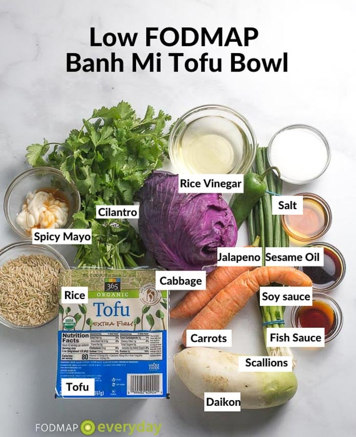 Ingredients for Banh Mi Tofu Bowl on gray background