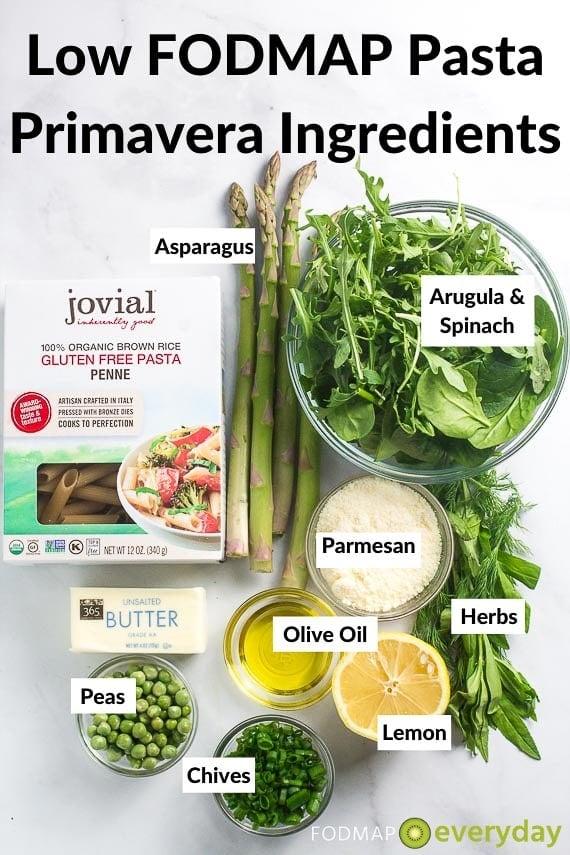 Ingredients for Low FODMAP Pasta Primavera