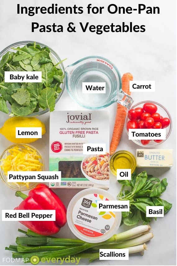 Ingredients for One-Pan low FODMAP Pasta & Vegetables