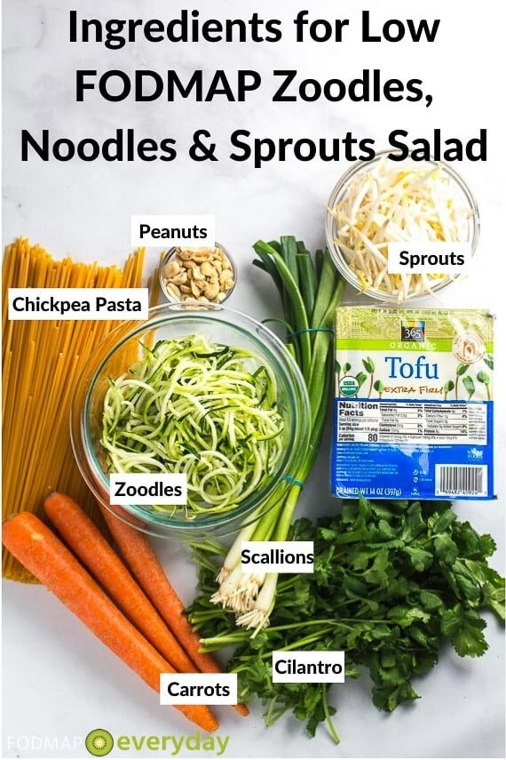 Ingredients for low FODMAP zoodles, noodles and sprouts salad