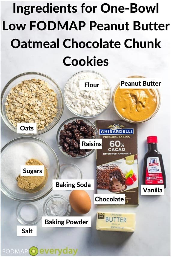 Ingredients for one bowl Peanut Butter oatmeal chocolate chunk cookies