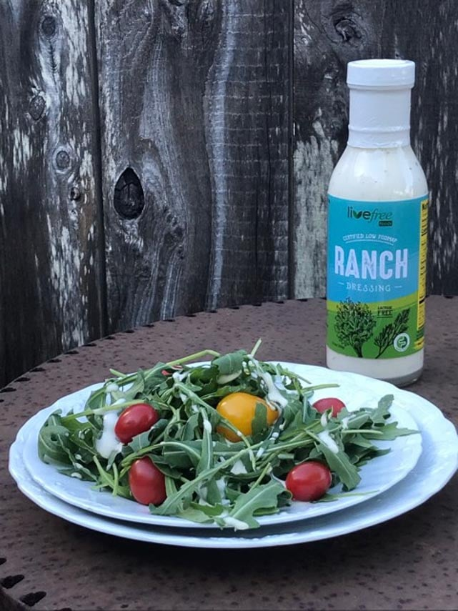 Live Free Foods Ranch dressing on salad