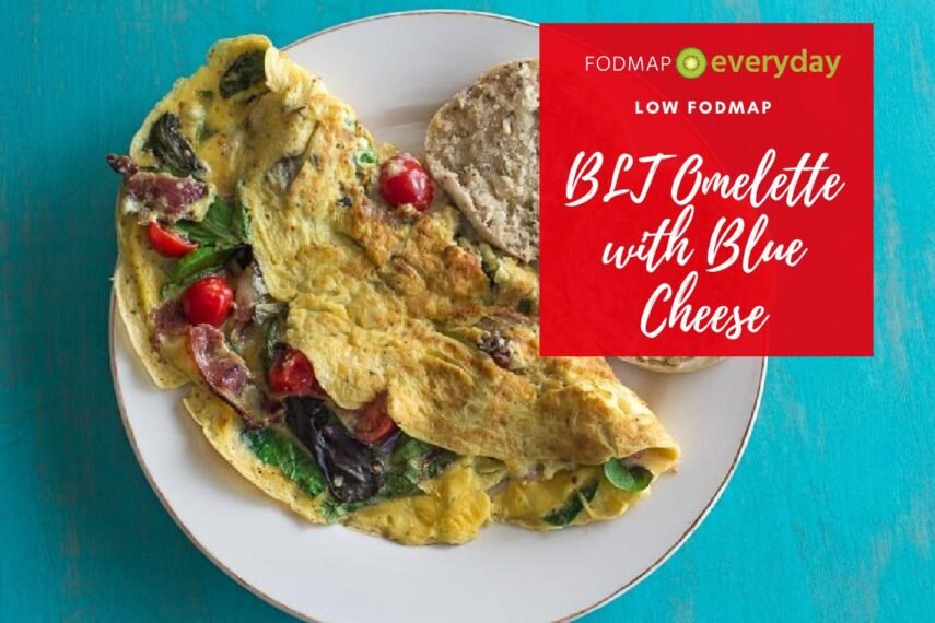 Overhead shot of a BLT Omelette with blue cheese