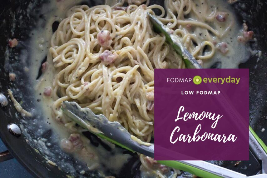 tossing lemony low FODMAP carbonara in pan