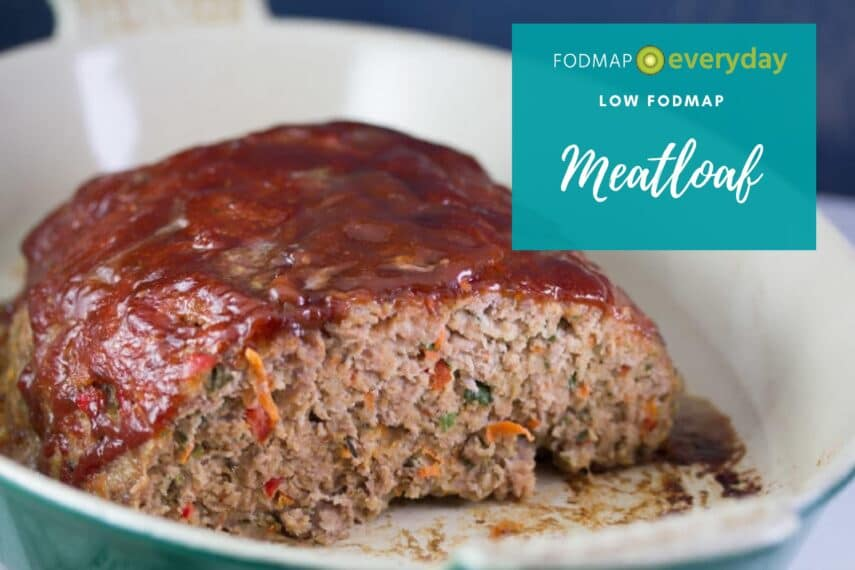 A cooked Low FODMAP meatloaf ready to be served.