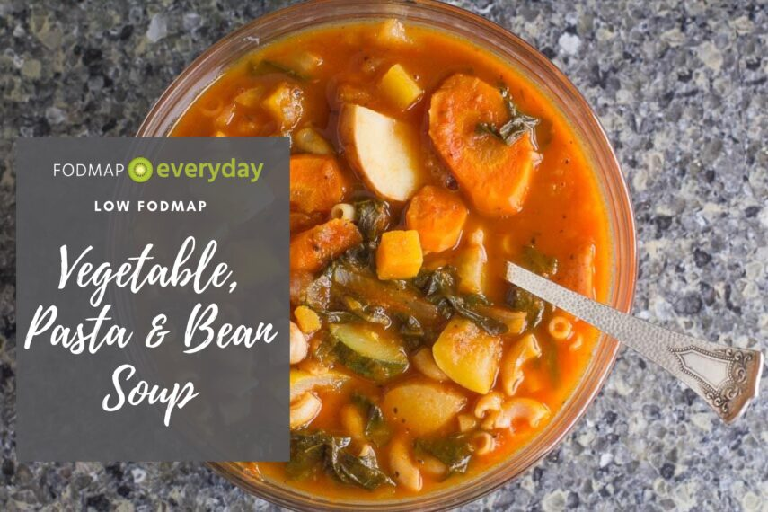 Low FODMAP Vegetable, Pasta & Bean Soup overhead image
