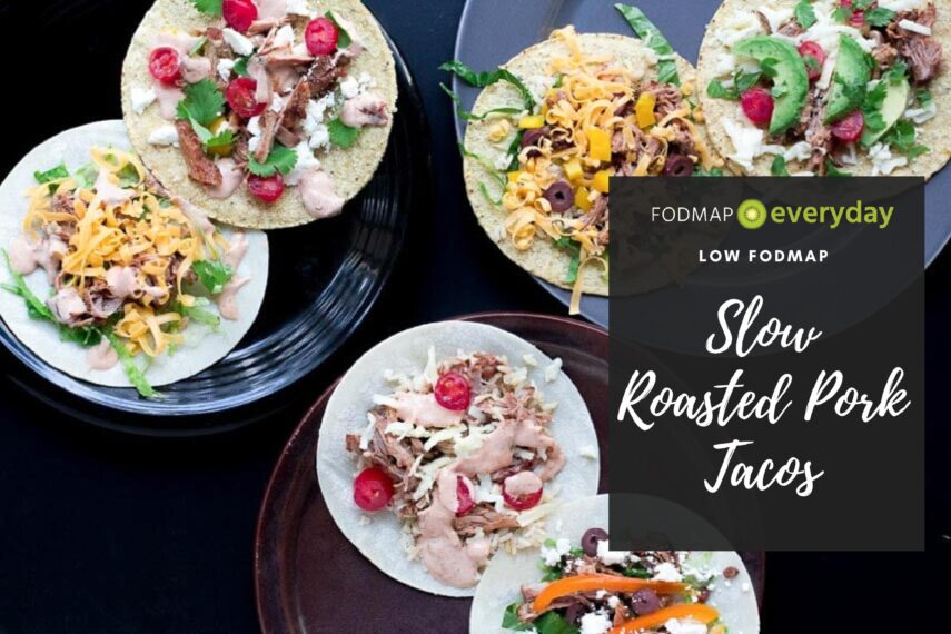 Shredded Pork Tacos on corn tortillas with various low FODMAP toppings