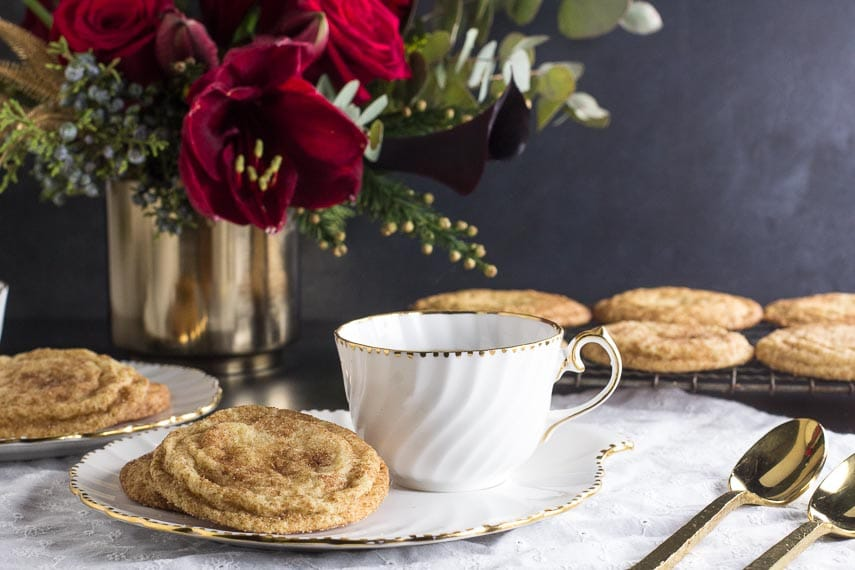 Low FODMAP Snickerdoodles on white plate with cup of coffee alongside-2