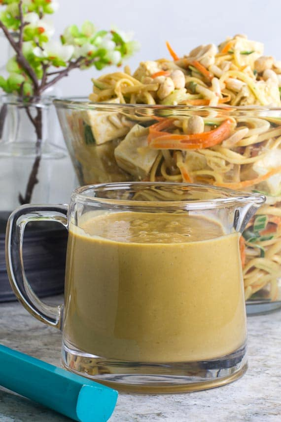 Low FODMAP peanut Lime sauce in pitcher