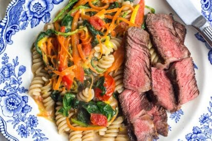 No FODMAP steak and pasta on blue and white plate