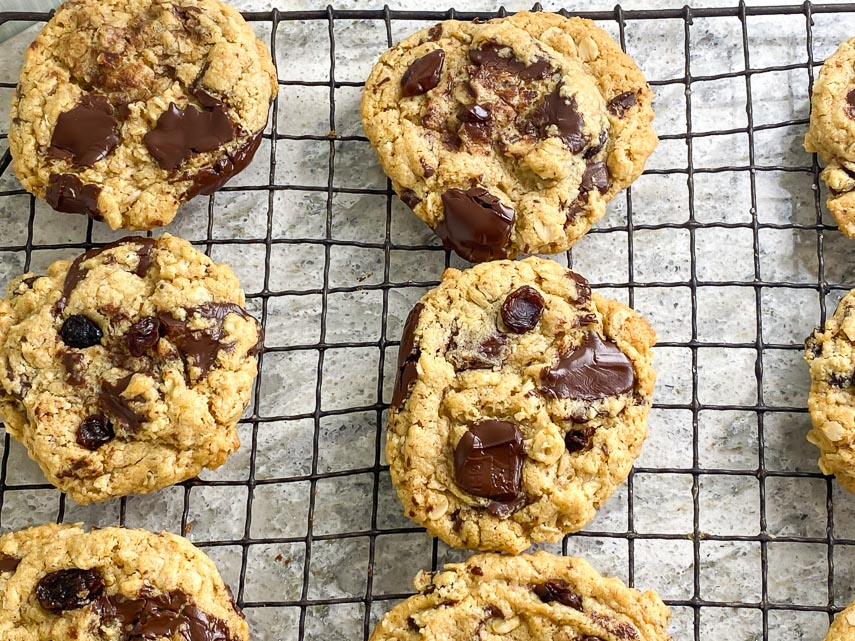 One-bowl low FODMAP peanut butter oatmeal chocolate chunk cookies on cooling rack