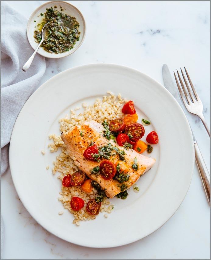 Salmon with Basil Caper Pesto