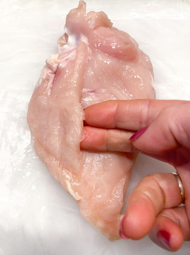 locating the tender on a chicken breast
