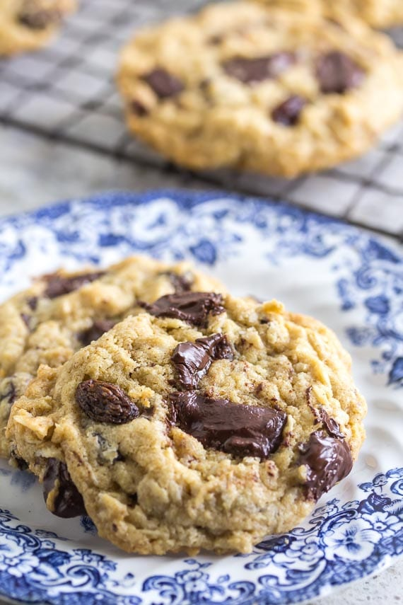 one bowl low FODMAP peanut butter chocolate chunk cookies on blue and white plate