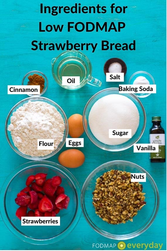 Ingredients for Low FODMAP Strawberry Bread