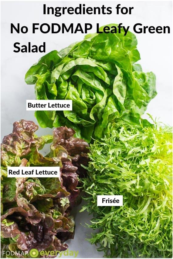 Ingredients for No FODMAP Leafy Green Salad