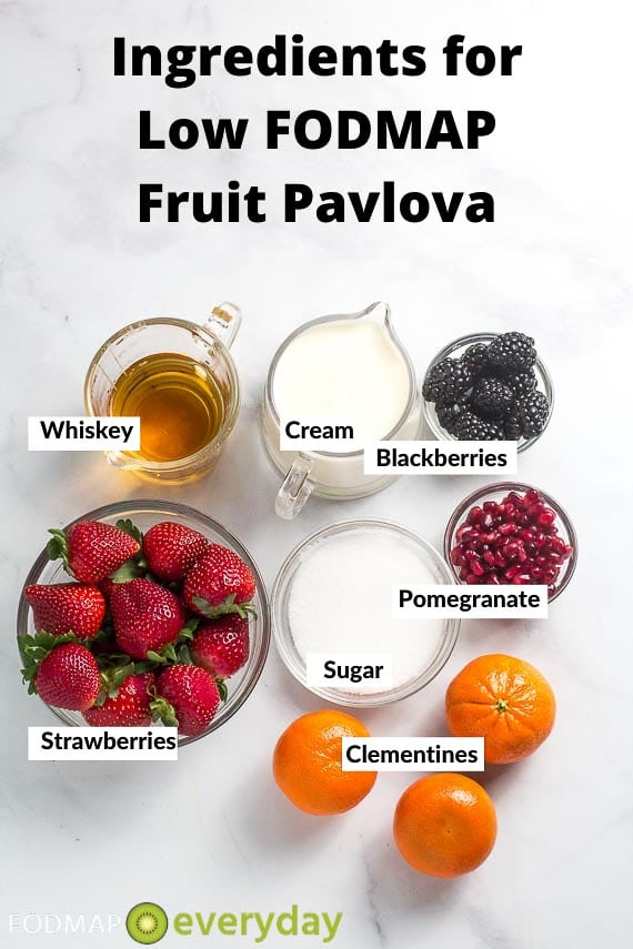 Ingredients for low FODMAP fruit Pavlova