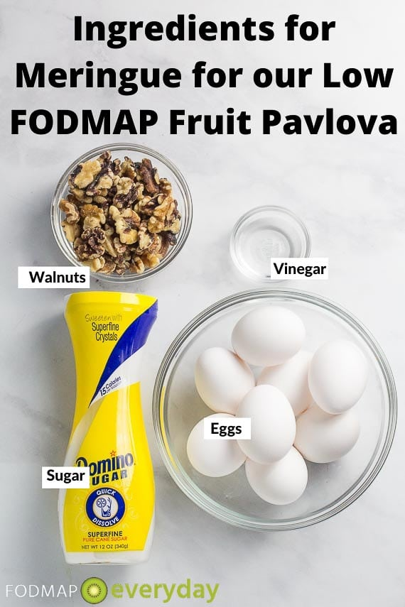 Ingredients for meringue for low FODMAP fruit Pavlova