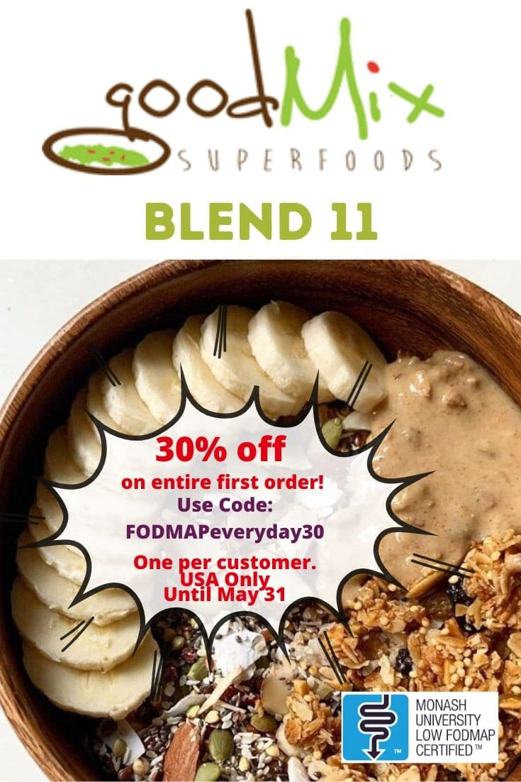 A bowl of Good Mix Superfoods Blend 11 with peanut butter and bananas - and discount code
