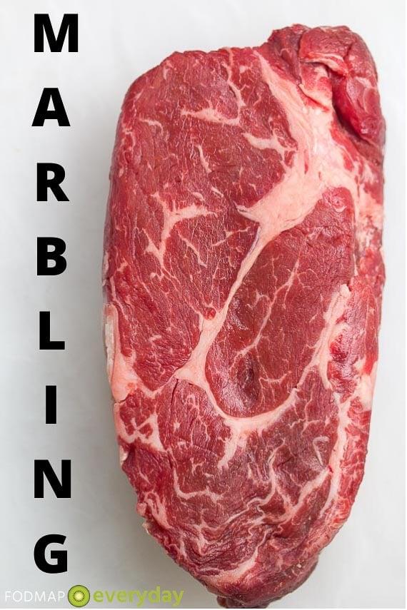Raw steak showing marbling