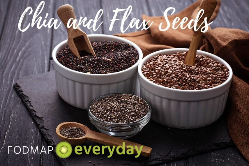 """3 bowls of chia and flax seeds on a wooden table with text overlay reading """"chia and flax seeds"""""""