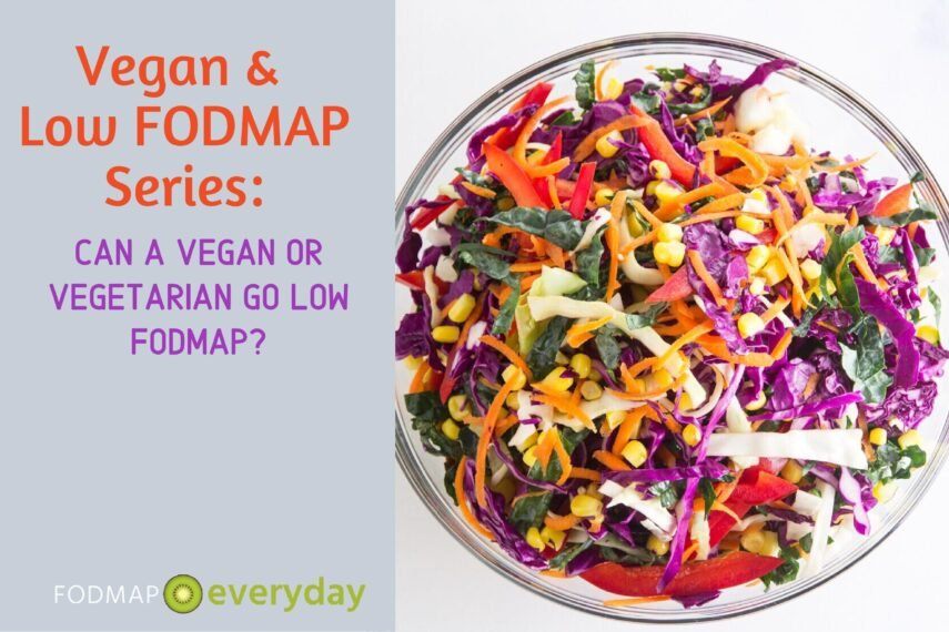 Vegan & Low FODMAP Series: Can a Vegan or Vegetarian Go Low FODMAP? Feature Image of a bowl of brightly colored salad vegetables.