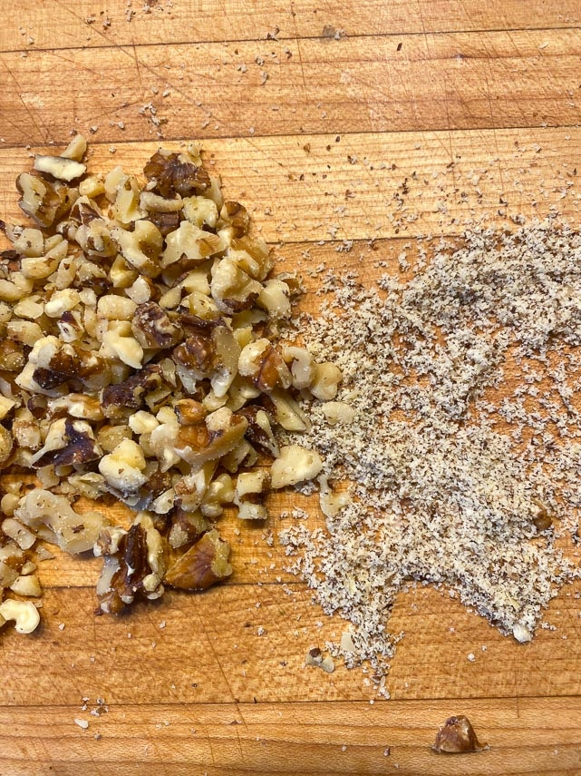 chopped walnuts after sifting