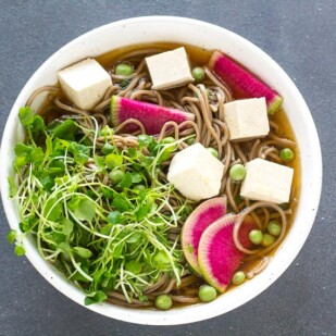 Low FODMAP Cold Soba Soup with Watercress and Radishes