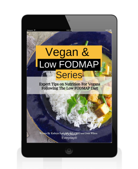 Cover of the Vegan and Low FODMAP Series displayed on an iPad