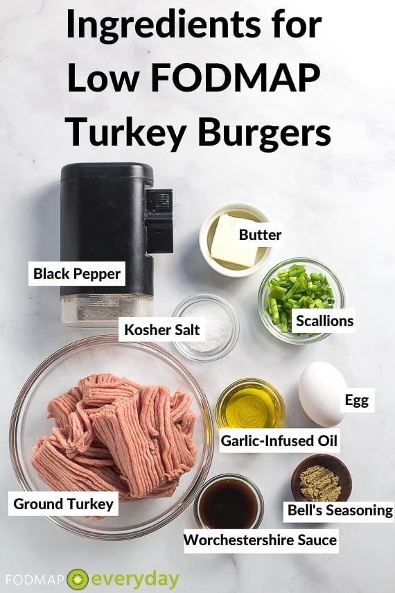 ingredients for low FODMAP Turkey Burgers on gray background