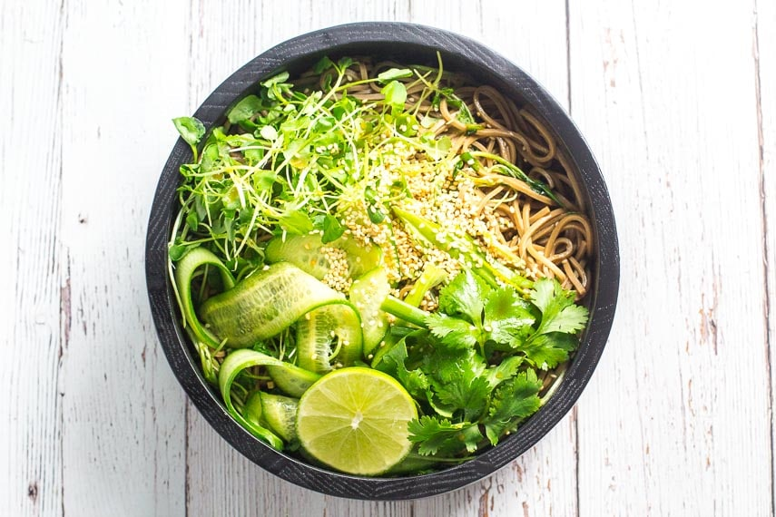 overhead cold soba noodle salad with greens