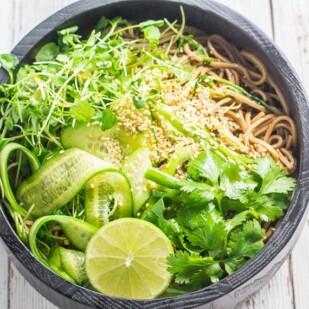 Cold soba noodle salad in ceramic bowl