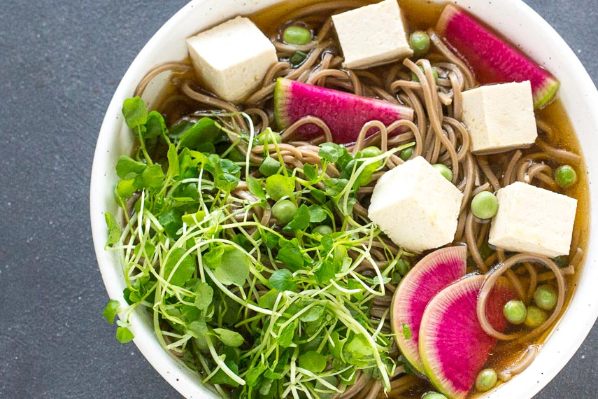 up close cold soba soup with radish