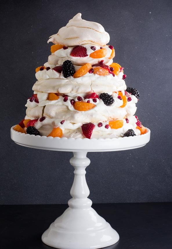vertical Towering Low FODMAP Fruit Pavlova