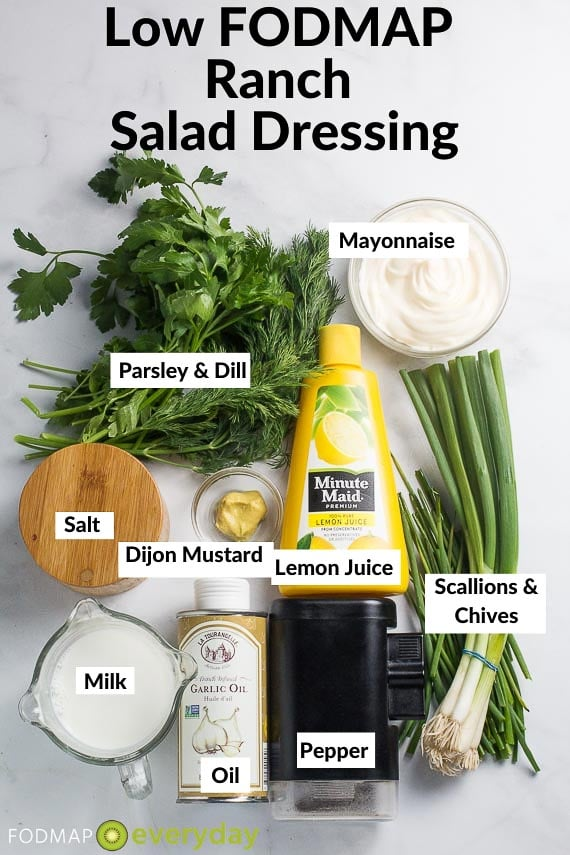 Image of Ingredients for Low FODMAP Ranch Salad Dressing