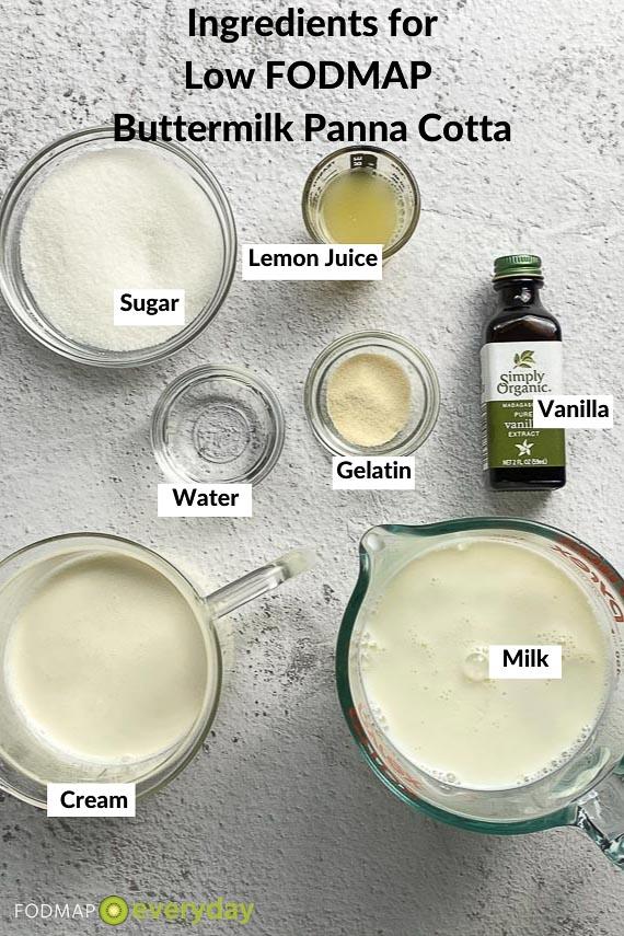 Ingredients for Buttermilk Panna Cotta