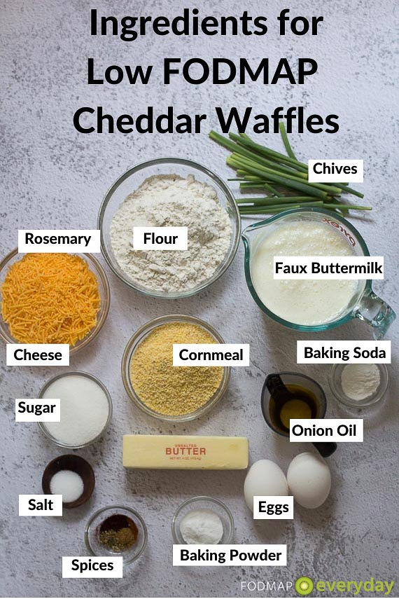 Ingredients for Low FODMAP Cheddar Waffles