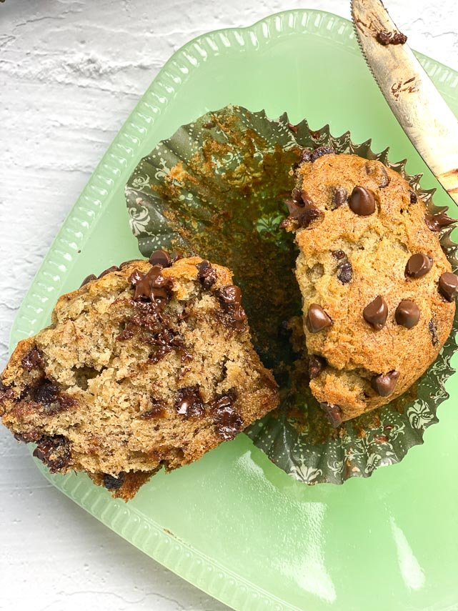 Low FODMAP Banana Chocolate Chip Muffin cut open on plate