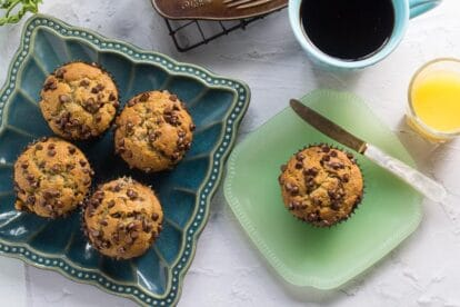 Low FODMAP Banana Chocolate Chip Muffins in pan and on plate