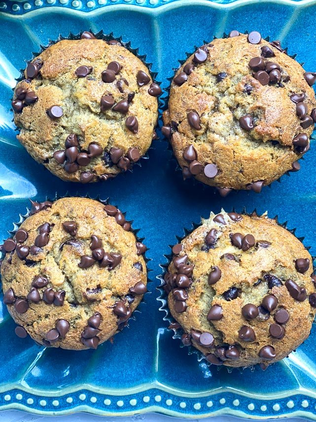 Low FODMAP Banana Chocolate Chip Muffins on a blue plate