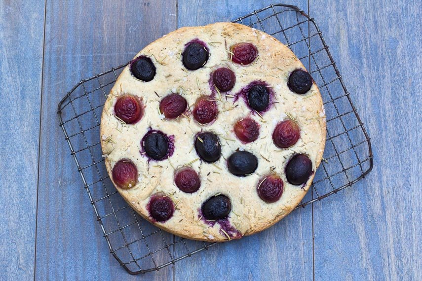 Main image Low FODMAP Focaccia with grapes on cooling rack