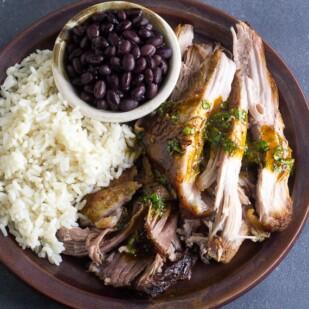 Main image of Low FODMAP Cuban-Style Roast Pork on brown ceramic plate