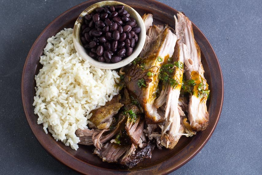 Main image of Low FODMAP Cuban-Style Roast Pork on brown ceramic plate